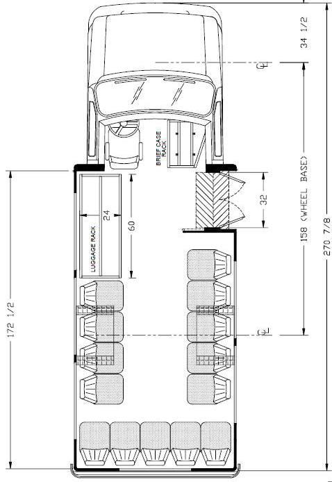 Ameritrans 225 Shuttle Bus, Perimeter Seating Floorplan